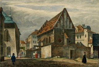 Staronová Synagoga z východu kolem roku 1836