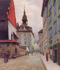 Staronová synagoga a židovská radnice kolem 1910 - Jan Minařík