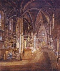 Vnitřek Staronové synagogy(1843) - Josef Mánes