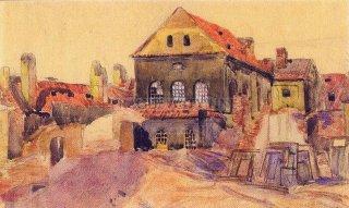 Cikánova synagoga během asanace (1906) - Jan Minařík