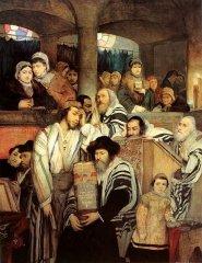 Židé modlící se v synagoze