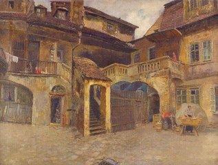 Jan Minařík - Nádvoří domu na rohu ulice Cikánské a Masařské