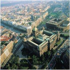 Letecký pohled na budovu před rekonstrukcí