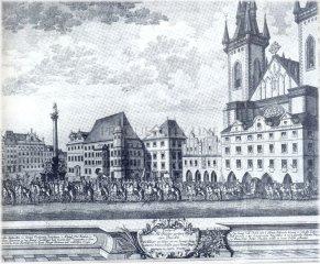 Staroměstská náměstí a v pozadí klášter Paulánů při korunovačním průvodu v roce 1743