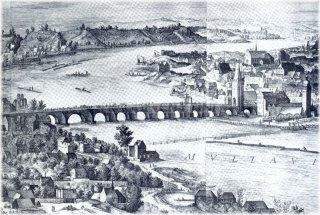 Karlův most (kolem roku 1606) nakreslil Filip Van Den Bosche