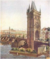 Karlův most a Staroměstská mostecká věž (namaloval Vincenc Morstadt 1830)