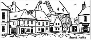 Jedová chýše, budova vlevo od kostela. Kresba od J. Lady