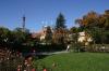 Petřín - zahrady  a v pozadí kostel sv. Vavřince a rozhledna