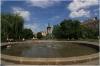 Praha 2 - Karlovo náměstí a v pozadí Novoměstská radnice