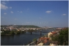 Vyšehrad - pohled na Vltavu a v pozadí Pražský hrad